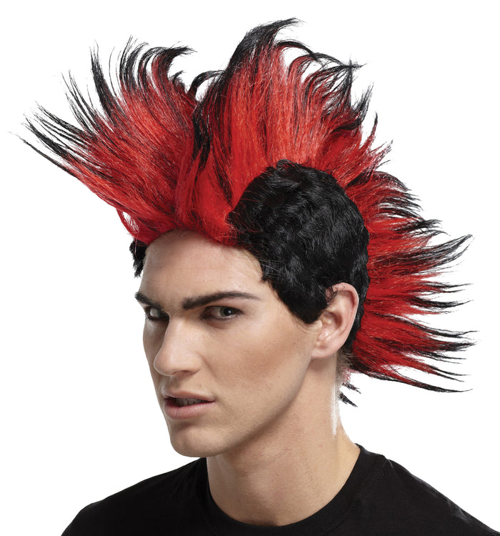80's Costume, Double Mohawk Wig Black Red Bl, Halloween Costumes, white wig, Wigs & Hair Costume