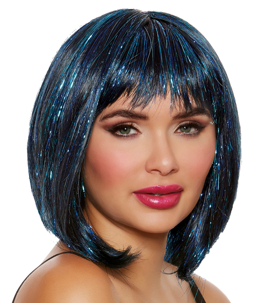 Medium Length Bob With Tinsel Adult Wig
