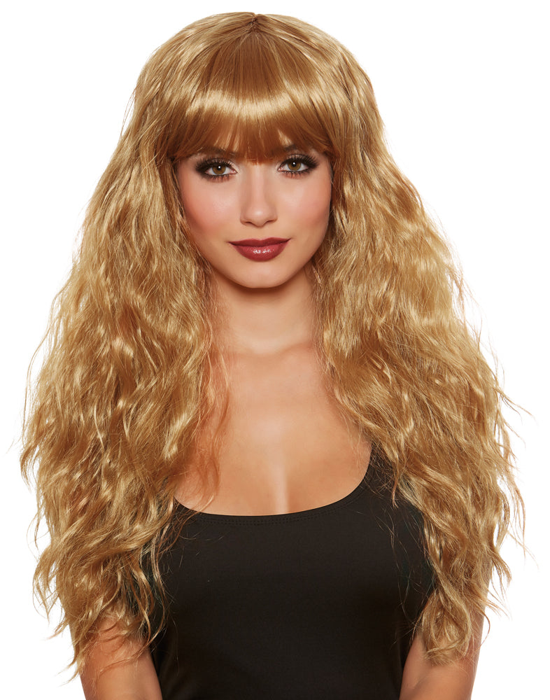 Long Relaxed Beach Wave Adult Wig With Bangs