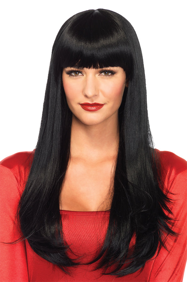 Bangin Long Straight Black Adult Costume Wig, Halloween Costumes, Wigs & Hair Costume
