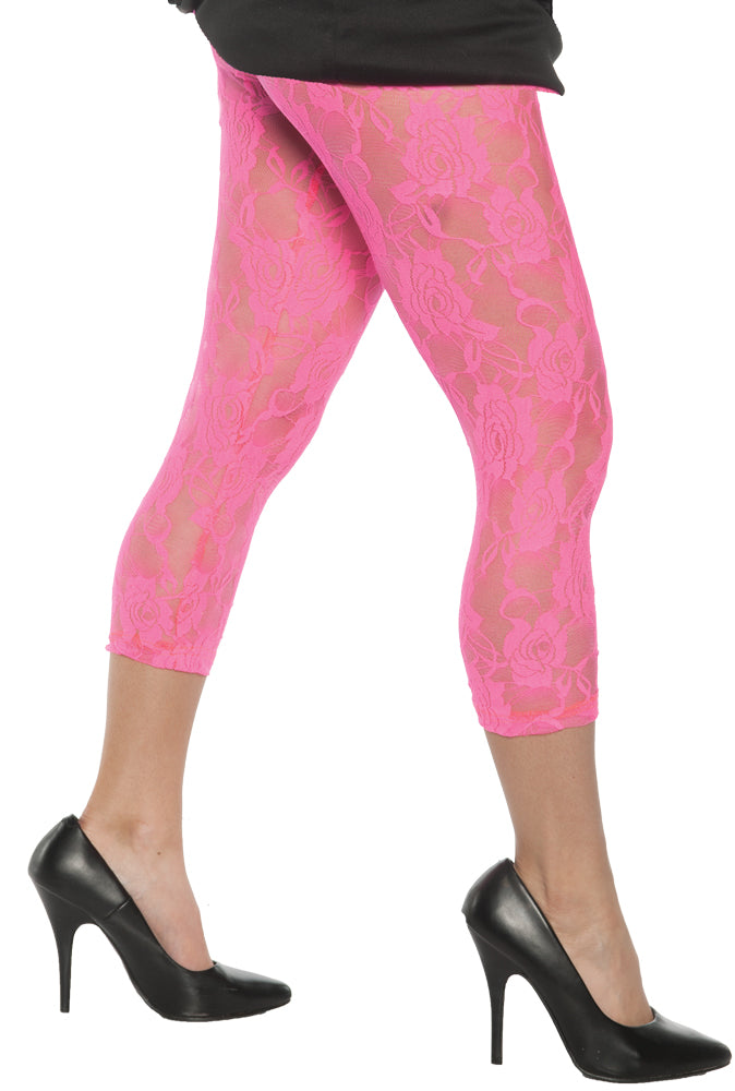 Neon Pink Lace Adult Leggings Sm