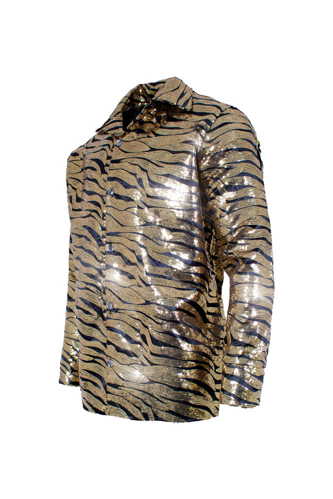 Tiger Gold Sequin Mens Costume Shirt XXl