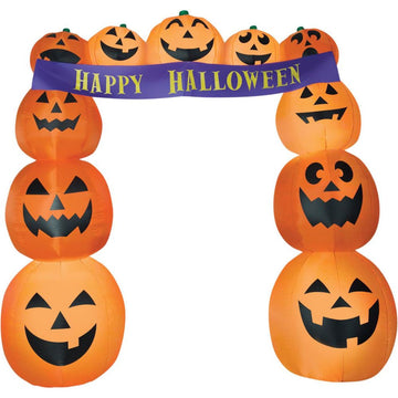 Airblown Archway Pumpkins Banner - Decorations & Props New Costume