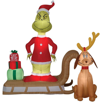 Airblown-Grinch And Max On Sleigh - New Costume