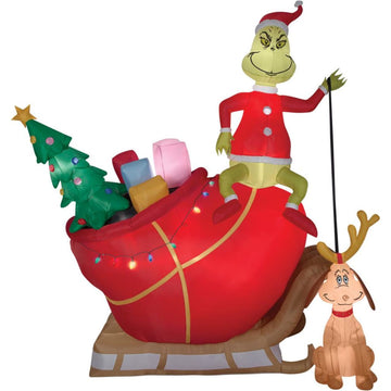 Airblown Grinch Max In Sled - christmas decorations Decorations & Props New