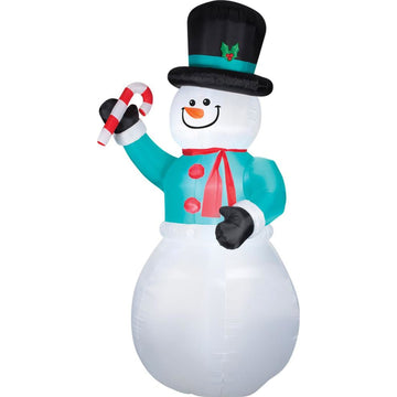 Airblown Snowman With Candy Cane - Christmas Decorations Decorations & Props