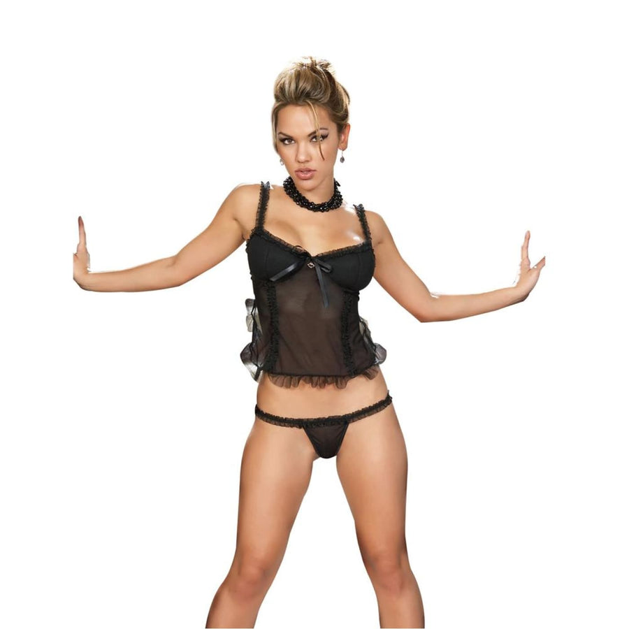 Babydoll with G-String Black Sm - Erotic Lingerie Halloween costumes Sexy
