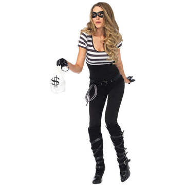 Bank Robbin Bandit Adult Costume Large - adult halloween costumes Convict & Cop