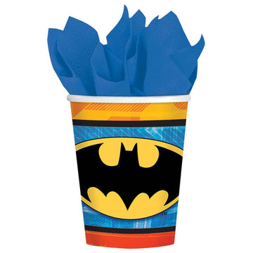 Batman 9 Oz Paper Cups -Set of 8 - Batman Costume Birthday Party Decorations