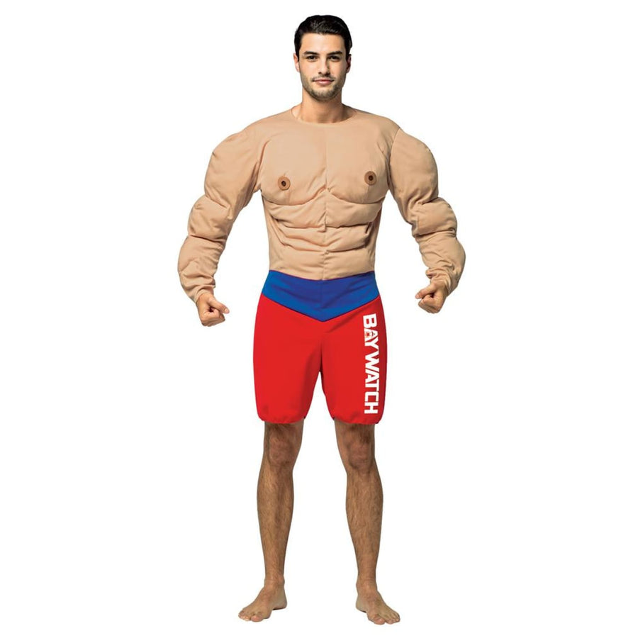 Baywatch Muscles Lifeguard Adult Costume - adult halloween costumes Celebrity
