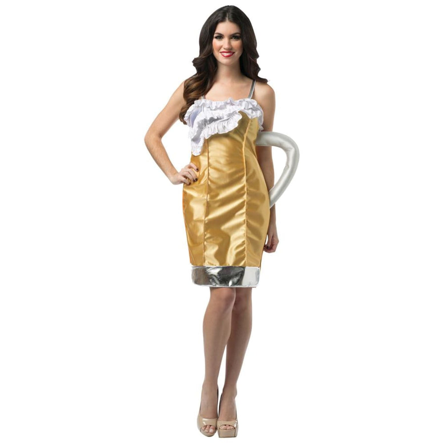 Beer Mug Dress Adult Costume - adult halloween costumes Discontinued Food &