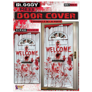 Bloody Door Cover 30x60In - Decorations & Props Halloween costumes haunted house