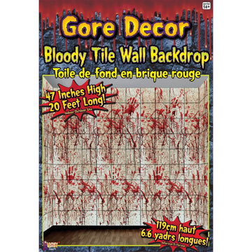 Bloody Tile Wall Roll 20Ft X 4Ft - Decorations & Props Halloween costumes
