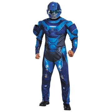 Blue Spartan Muscle Adult Costume Xlarge 50-52 - adult halloween costumes Game