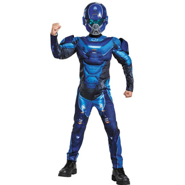 Blue Spartan Muscle Boys Costume Large 10-12 - Boys Costumes boys Halloween