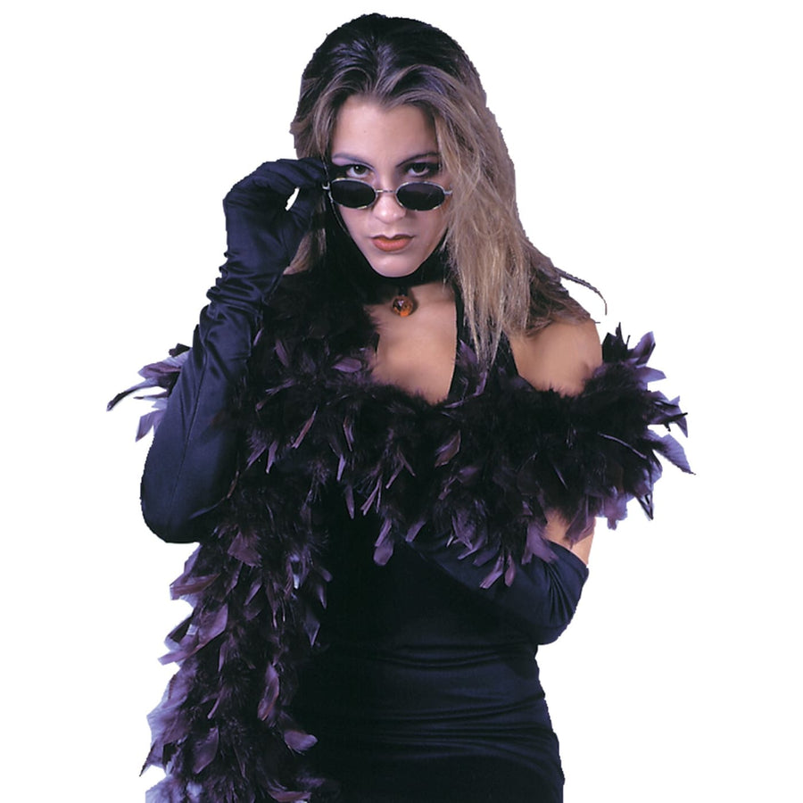 Boa 6Ft Goth Feather Burgundy - Gangster & Flapper Costume Glasses Gloves &