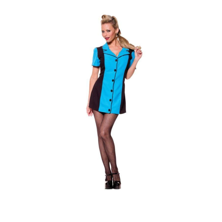 Bowling Dress Turquoise Lg - adult halloween costumes Cheerleader & Sports