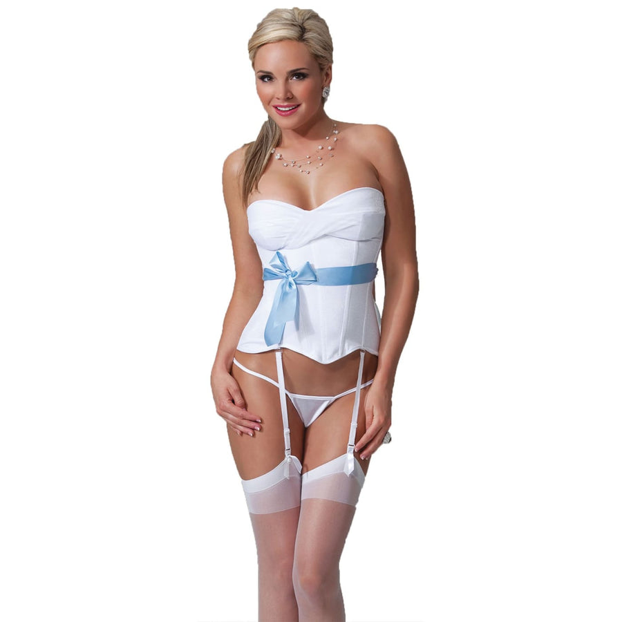 Bustier White and Blue Md - Bustier Erotic Lingerie Halloween costumes Sexy