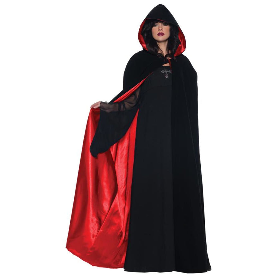 Cape Deluxe Black Red 63 Inch - Halloween costumes New Costume Robes Capes &