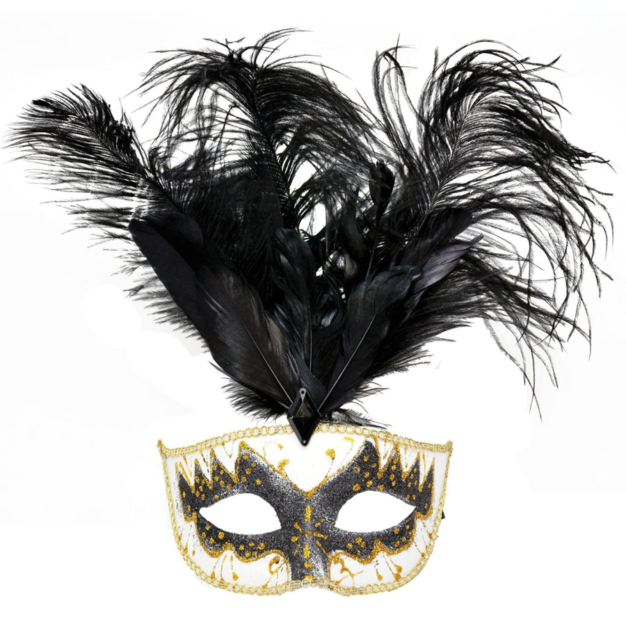 Carnival Mask Big Feather Black & Gold - Costume Masks Halloween costumes