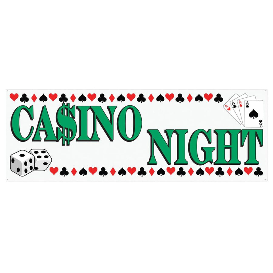 Casino Night Banner 5Ftx21In - Decorations & Props Halloween costumes haunted