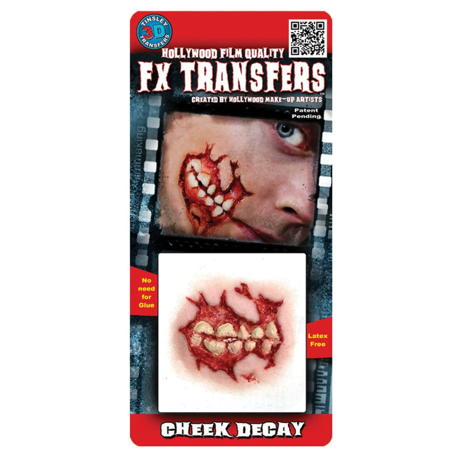 Cheek Decay 3D Fx Professional Transfer - Costume Makeup Ghoul Skeleton & Zombie
