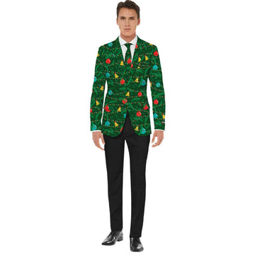Christmas Green Jacket-Tie Mens Costume Large - Mens Costumes New Costume