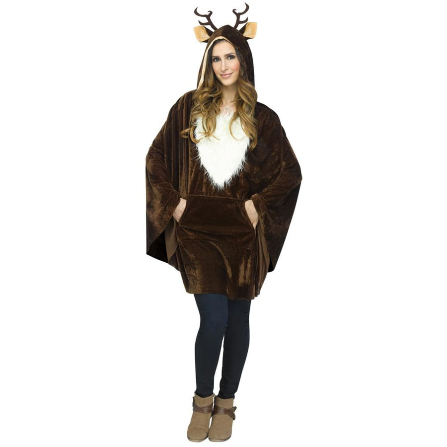 Christmas Reindeer Poncho Adult Costume - adult halloween costumes Animal &