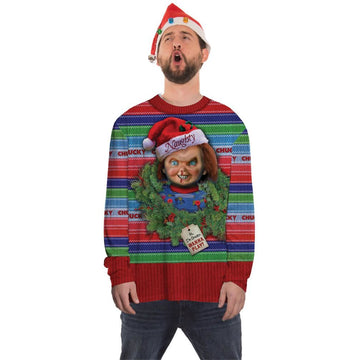 Chucky Ugly Christmas Sweater Shirt Lg - adult halloween costumes Christmas