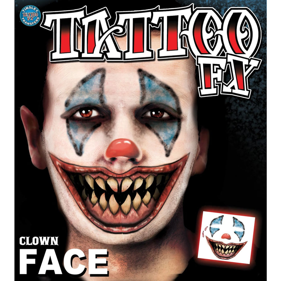 Clown Face Tattoo - Clown & Mime Costume clown costumes Halloween costumes
