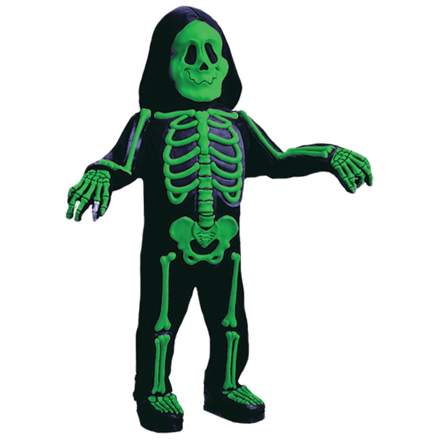 Color Bones Green Kids Costume Sm 4-6 - Boys Costumes Ghoul Skeleton & Zombie