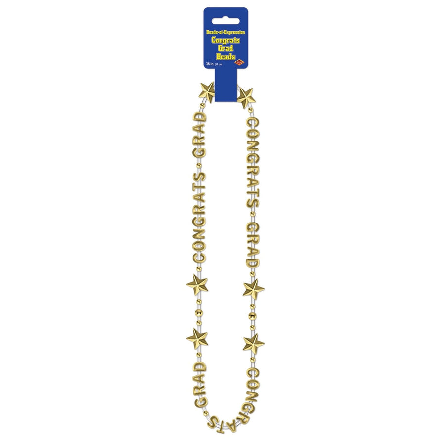 Congrats Grad Beads Gold - Decorations & Props Halloween costumes haunted house