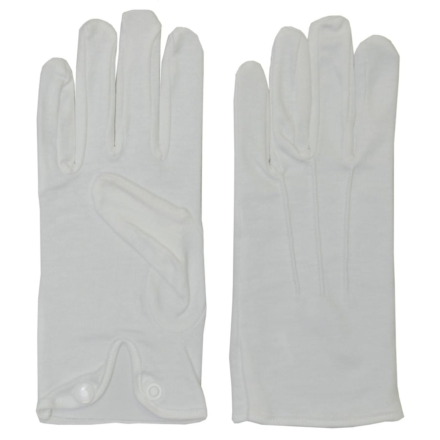 Cotton With Snap White Adult Gloves MD - Glasses Gloves & Neckwear Halloween