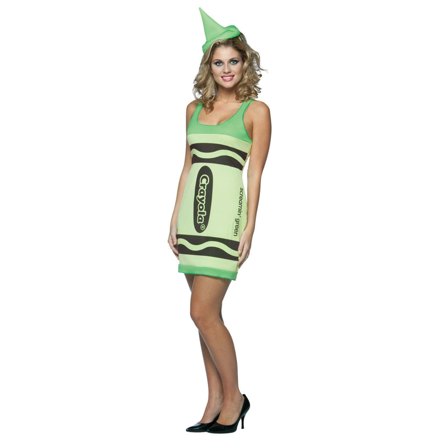 Crayola Tank Scr Green Adlt - adult halloween costumes female Halloween costumes