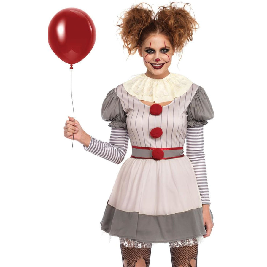 Creepy Clown Womens Costume Md-Lg - clown costumes Creepy Clown Womens Costume