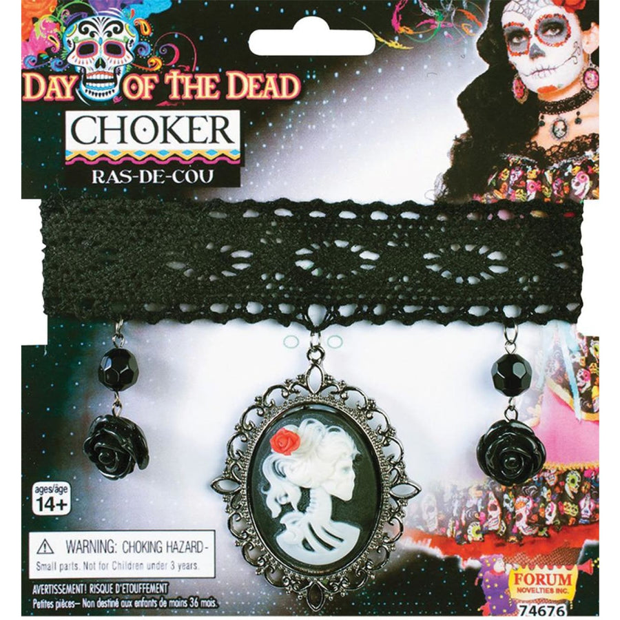 Day Of Dead Choker - Fashion Jewelry Ghoul Skeleton & Zombie Costume Halloween