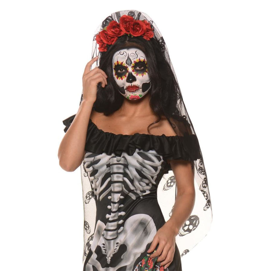 Day Of The Dead Mantilla Costume Accessories - Ghoul Skeleton & Zombie Costume
