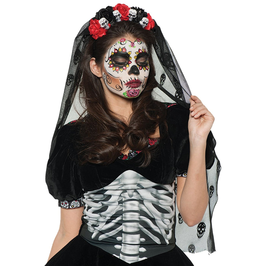 Day Of The Dead Mantilla Deluxe - Fashion Jewelry Ghoul Skeleton & Zombie