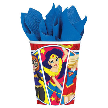 DC Superhero Girls 9 Oz Paper Cups -Set of 8 - Birthday Party Decorations