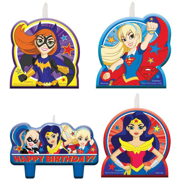 DC Superhero Girls Candles -Set of 4 - Birthday Party Decorations Birthday Party