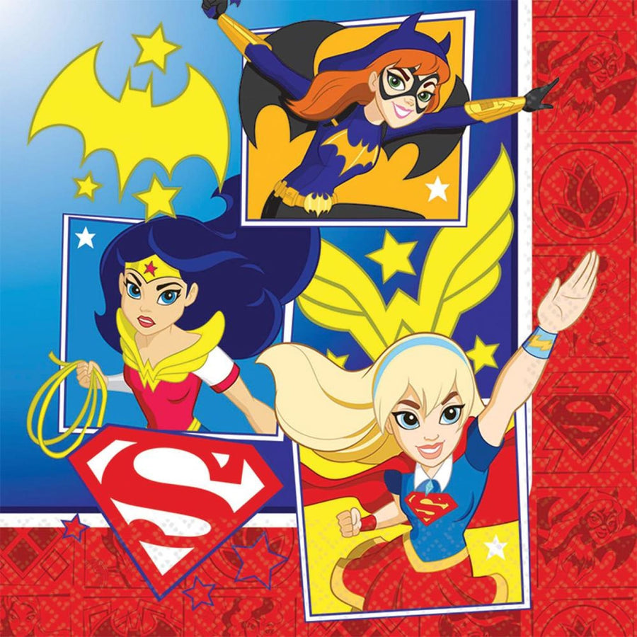 DC Superhero Girls Lunch Napkins -Set of 16 - Birthday Party Decorations
