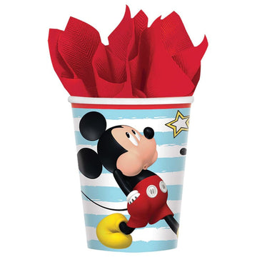 Disney Mickey Mouse 9 Oz Paper Cups -Set of 8 - Birthday Party Decorations