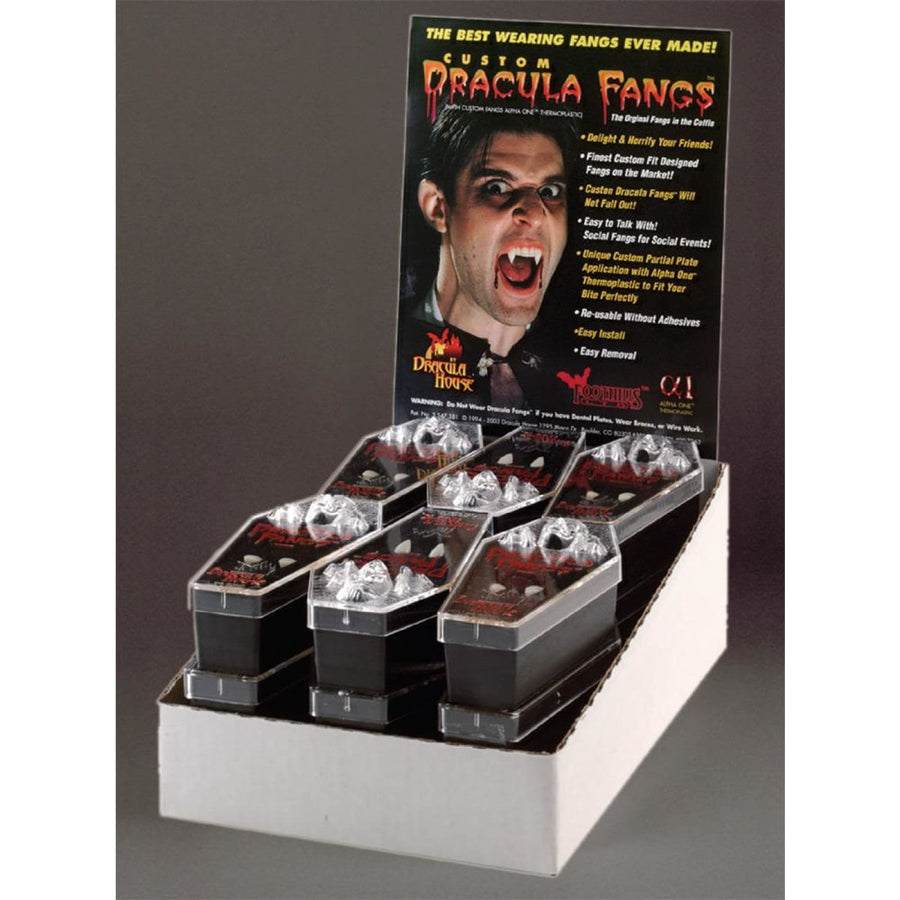 Dracula Fangs Display 12 Pieces L - Costume Makeup New Costume