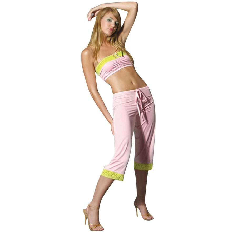 Drawstring Cropped Pants Pink Sm - Erotic Lingerie Halloween costumes Sexy