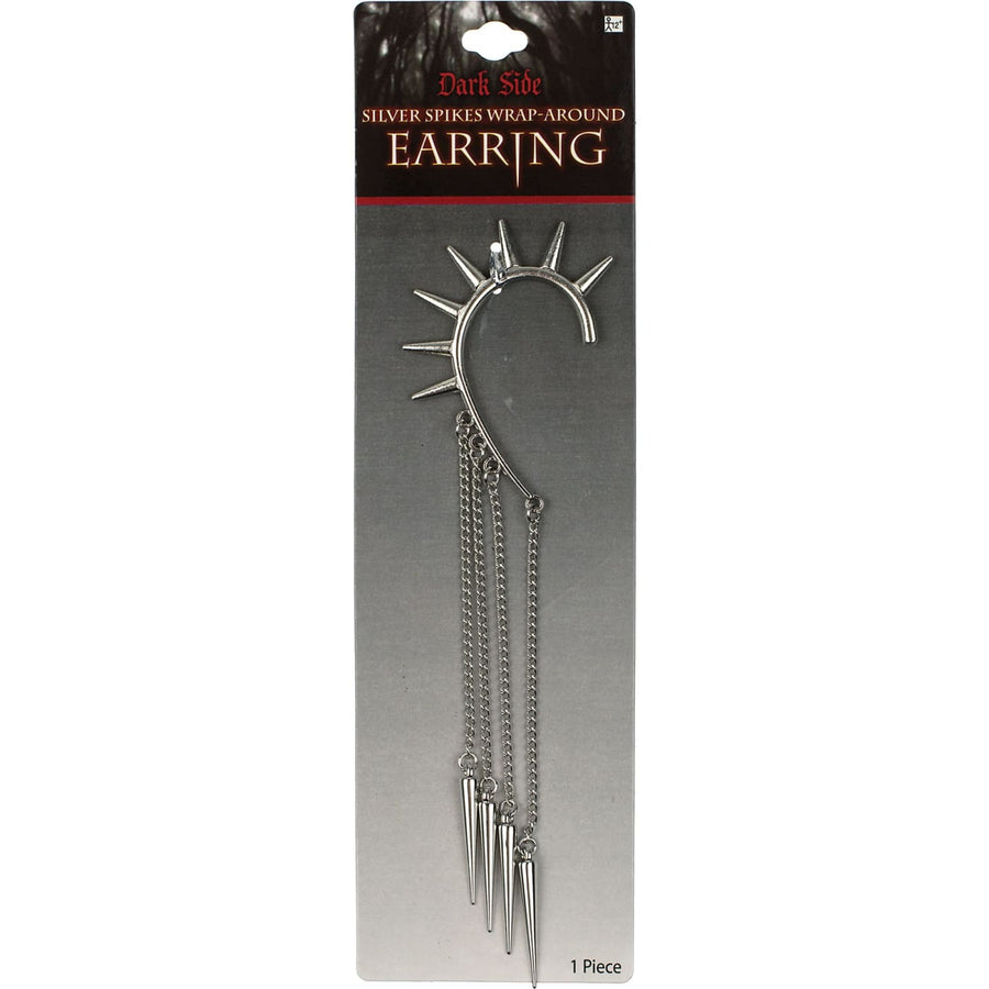 Earring Wrap Spike Silver - Fashion Jewelry Halloween costumes