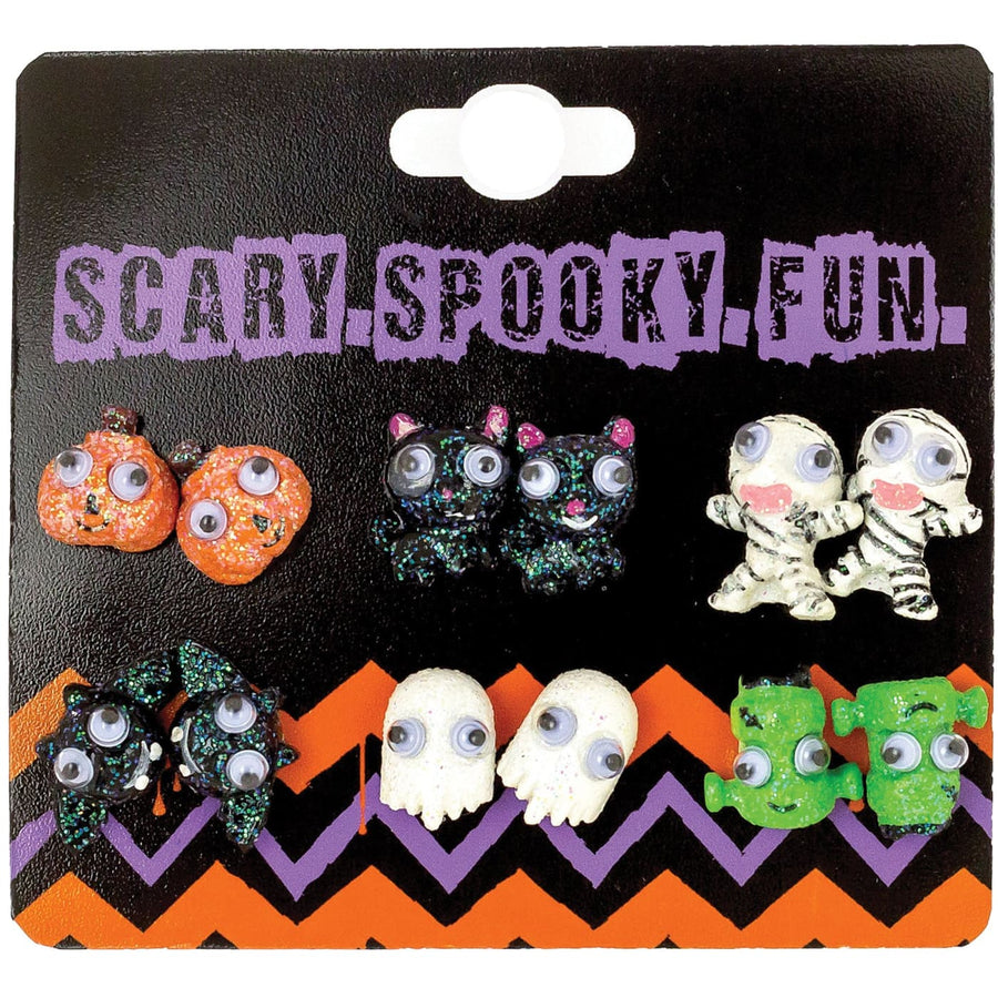 Earrings 6Pk Studs With Googly Eye - Fashion Jewelry Halloween costumes
