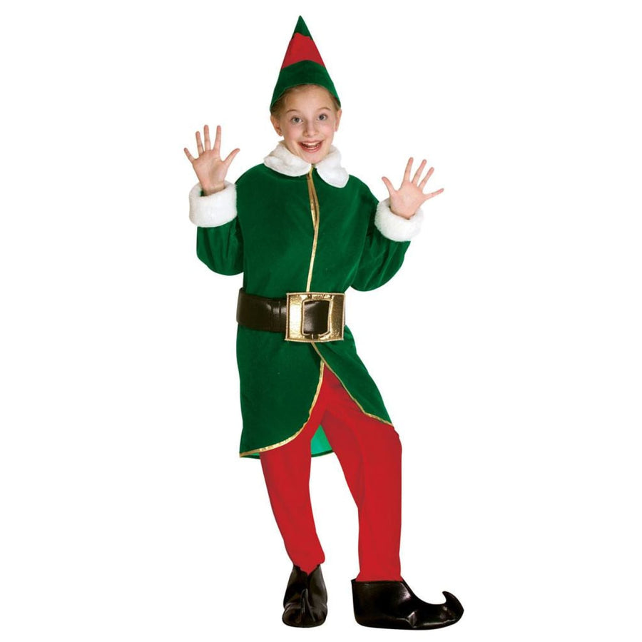 Elf Kids Costume Green Red Medium 7-10 - Boys Costumes Girls Costumes Halloween