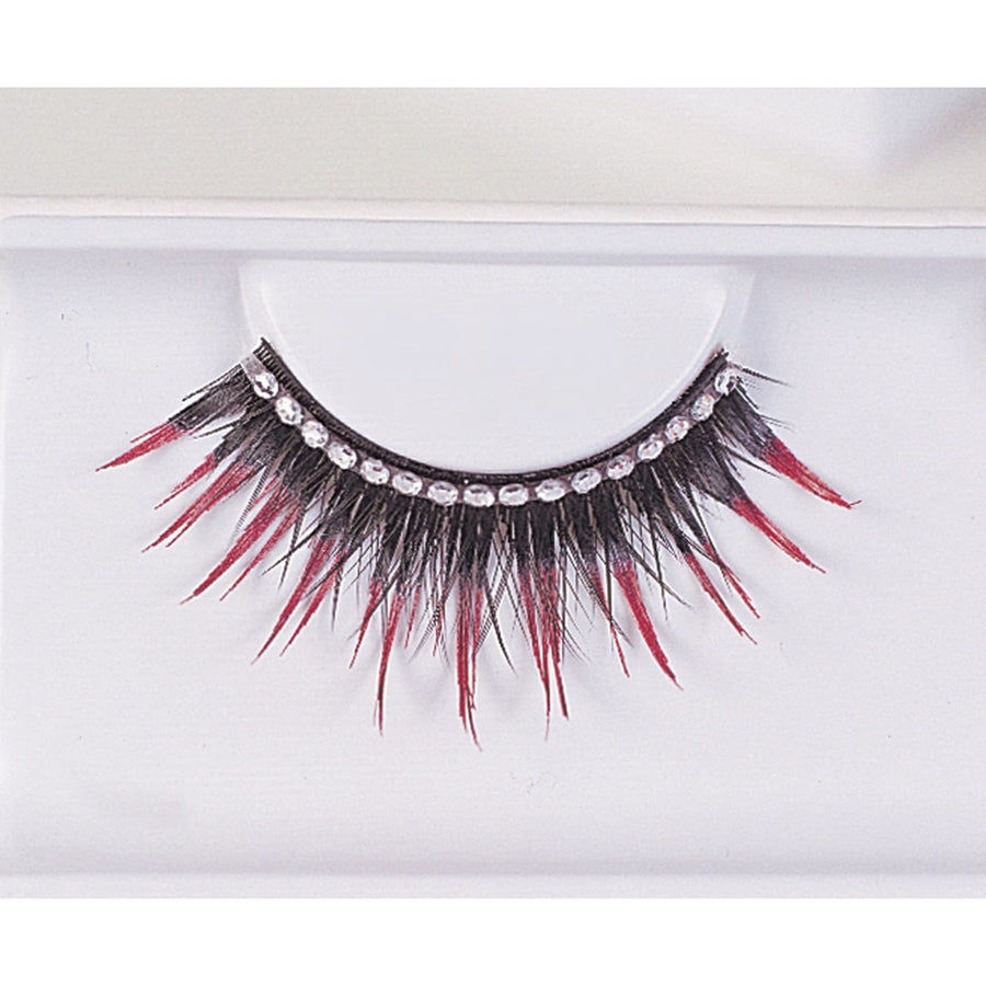 Eyelashes Black With Red Rhinestones - Costume Makeup Halloween costumes