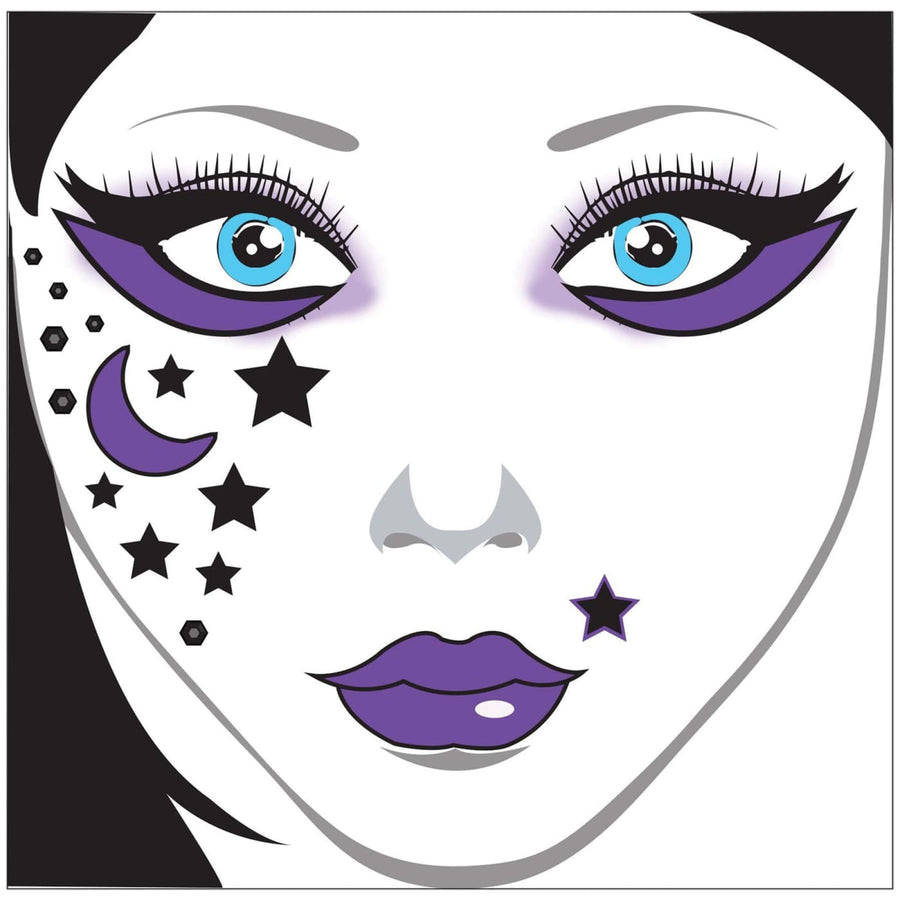 Face Decal Moon Stars - Halloween costumes