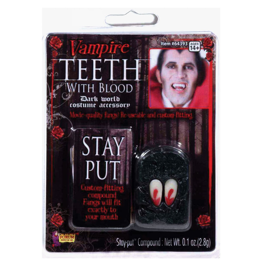 Fangs Vampire With Blood - Costume Makeup Gothic & Vampire Costume Halloween